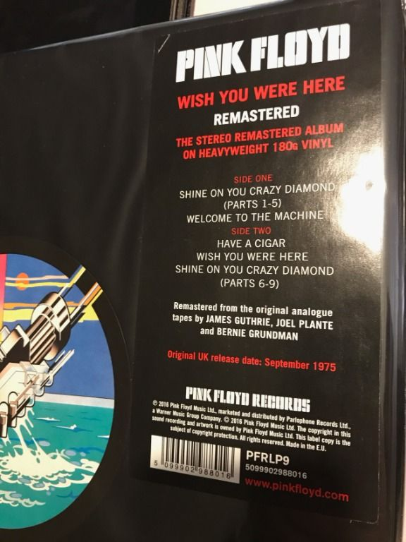 Pink Floyd - Wish you were here (2016 UK import) βινύλιο LP